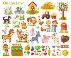 Buy Farm Set with Animals by svaga on GraphicRiver. Farm set with animals, pets, livestock and vegetables on a white background. Young farmers and farming. Farm Vector, Vector Art, Young Farmers, Cute Bear, Livestock, Diy Arts And Crafts, Diy Crafts, Cute Illustration, Farm Animals