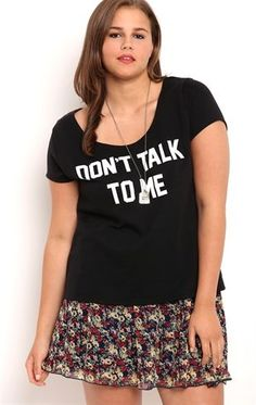Deb Shops Plus Size Short Sleeve French Terry Tee Shirt with Dont Talk to Me
