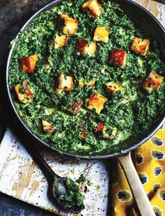 This saag paneer recipe comes from Dan Toombs, aka The Curry Guy, and is full of flavour from Indian spices. Enjoy this vegetarian and gluten-free side dish as part of a sharing feast Mattar Paneer Recipe, Saag Recipe, Palak Paneer, Indian Food Recipes, Vegan Recipes, Ethnic Recipes, Zatar Recipes, Yummy Recipes, Gujarati Recipes