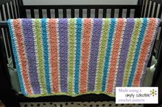 Quick n Easy, Free pattern - Image courtesy of Kathi from Mount Prospect, IL - Stash Buster Blanket pattern from Simply Collectible Quick Crochet Blanket, Baby Afghan Crochet, Baby Afghans, Crochet For Kids, Free Crochet, Knit Crochet, Crochet Blanket Patterns, Crochet Stitches, Crochet Crafts