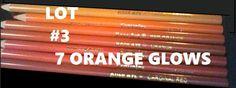 COLOR PENCILS LOT#3: 7 ORANGE GLOWS! CRAYOLA ROSE ART BRANDS
