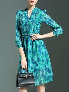 Polyester 3/4 Sleeve V Neck Work Midi Dress