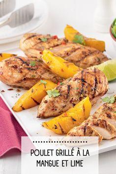 Ce soir, on fait du poulet grillé sur le barbecue! Avec sa marinade à la lime, le poulet reste juteux et, surtout, goûteux! Healthy Food, Healthy Recipes, Barbecue, Dishes, Chicken, Grilled Chicken, Healthy Meals, Mango, Healthy Foods