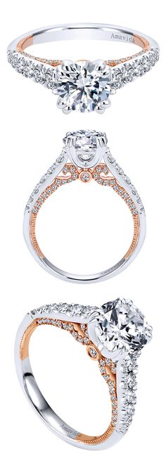 The best mixture of both white and rose gold in this Amavida Contemporary Straight Engagement Ring by Gabriel & Co.! When metals mix, they help complement each other as well as helping the other stand out. This is a perfect duo for the perfect couple!