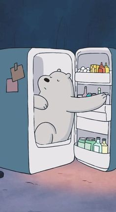 Ice Bear in fridge from We Bare Bears cartoon Phone lock screen wallpaper Cute Disney Wallpaper, Kawaii Wallpaper, Wallpaper Iphone Cute, Galaxy Wallpaper, Lock Screen Wallpaper, Aztec Wallpaper, Iphone Backgrounds, Pink Wallpaper, Wallpaper Backgrounds