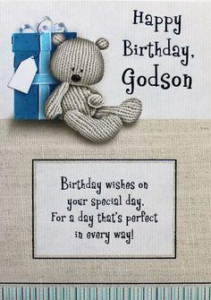 Happy Birthday Godson greeting card teddy bear amp present theme brand new Birthday Qoutes, Birthday Card Sayings, Birthday Messages, Birthday Greeting Cards, Birthday Greetings, Birthday Wishes, Happy Birthday Godson, Man Birthday, Birthday Ideas