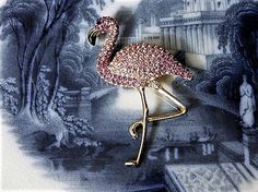 ITEM # 121635  Antique designer signed in all caps EISENBERG ICE dates this rare and hard to find pink pave crystal flamingo brooch from 1948-1959. Brooch measures 2 1/4 in length and 1 1/2 at its widest.  Condition: Very good antique condition with typical wear due to age and handling. No missing stones.  Please visit my other Etsy shop for antique & vintage porcelain at https://www.etsy.com/shop/PattysPorcelainEtc  PLEASE let me know if you need any additio...