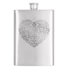 Silver Filigree Heart Valentine Flask