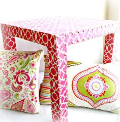 Pink Parsons Fabric Covered Table
