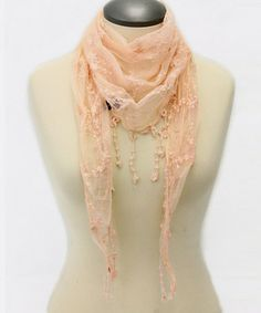 Pink Lace Embroidered Scarf by TROO #zulilyfinds {14.99}