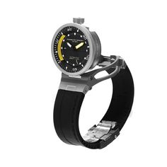 The Porsche Design P´6780 Diver's ETA 2892-A2 automatic movement with Porsche Design rotor is housed within a container, which itself is anchored within a bridge structure. Securing the container within the bridge locks the rotating bezel and crow...