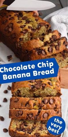 This Chocolate Chip Banana Bread is always a huge hit! A favorite with whoever tries it! Strawberry Banana Bread, Banana Chocolate Chip Muffins, Make Banana Bread, Mini Chocolate Chips, Banana Bread Recipes, Best Chocolate, Baking Recipes, Snack Recipes, Snacks