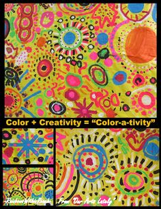Color in children's Art: inspiration + ideas for spring and beyond! Children are shown professional art to become inspired by and make their own. Group Art Projects, School Art Projects, Class Projects, Circle Painting, Spring Art, Spring Crafts, Collaborative Art, Art Graphique, Preschool Art