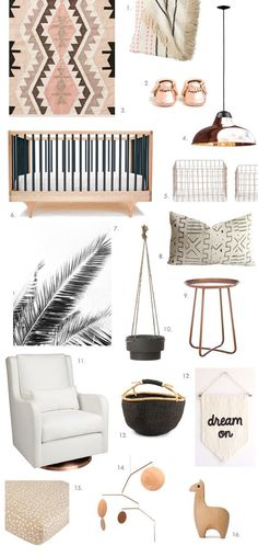 It's been kind of a while since we we posted a nursery design board, hasn't it? Time for some pretty, copper-inspired ideas for you mamas of little gals on the way. What do you think? 1. Knit baby blanket 2. Copper baby mocs 3. Kilim-style rug 4. Copper pendant light 5. Copper wire storage baskets 6. …