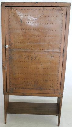 """Unusual one door punch tin pie safe,old painted finish, boot jacks ends. Dated 1899, Avon, 64"""" H, 30 1/2"""" W, 13"""" D. Cupboards, Cabinets, Antique Pie Safe, Dry Sink, Primitive Furniture, Cabinet Furniture, Paint Finishes, Primitives, Sinks"""