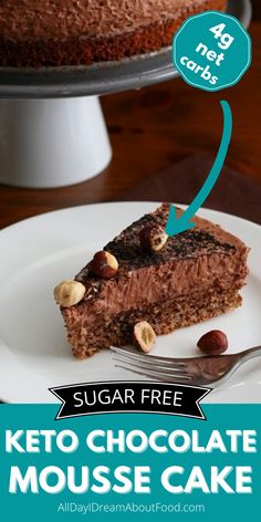 Creamy and rich low carb chocolate hazelnut mousse on a layer of gluten-free hazelnut sponge cake. The ultimate keto dessert for chocolate lovers. Low Carb Chocolate, Chocolate Hazelnut, Chocolate Lovers, Chocolate Recipes, Low Carb Sweets, Low Carb Desserts, Low Carb Recipes, Ketogenic Desserts, Diabetic Desserts