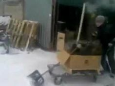 Russian home made tractor for snow removal.