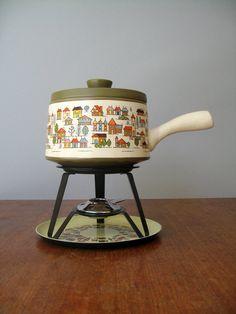 Vintage Fondue Pot Set- Country Village via Etsy