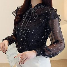 Buy women Blouse is now available in the color Black. Party Wear Lehenga, Party Wear Dresses, Blouse Styles, Blouse Designs, Iranian Women Fashion, Sleeves Designs For Dresses, Chiffon Tops, Chiffon Ruffle, Designer Dresses