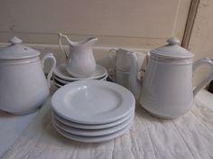 Antique  White Ironstone Tea Set Children's by ironstonevintage, $75.00