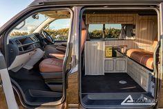Chestnut Brown Ashton VW T6 Campervan Conversion - Autohaus Vw Motorhome, Campervan Conversions Layout, Brown Roofs, Campervan Interior, Orange Leather, Van Life, Conversation, Camping, Car