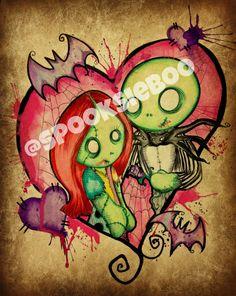 Zombie Love by MoonlitArtShop on Etsy Nightmare Before Christmas Drawings, Cute Zombie, Doll Drawing, Time Tattoos, Tatoos, Bride Of Frankenstein, Jack And Sally, Creepy Cute, Horror Art