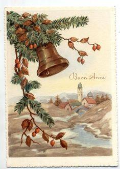 Buon Natale con Campana Xmas w Bell Cloche Glocke Vintage PC Circa 1950 15