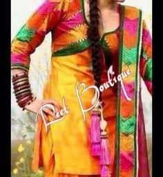 Beautiful suit Phulkari Suit, Boutique Suits, Indian Outfits, Indian Clothes, Beautiful Suit, Punjabi Suits, Indian Fashion, Dress Up, Yellow