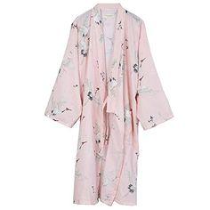 98db086420 FANCY PUMPKIN Japanese Women s Robe Cotton Dressing Gown Kimono Pajamas  Nightgown-Crane B