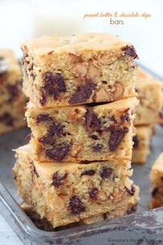 A recipe for soft and chewy bars, packed with 3 cups of peanut butter and chocolate chips