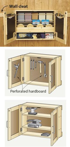 Building several storage cabinets doesn't take much longer than building a single one. For example, while building a sanding-supplies cabinet like the one shown left, make duplicate case and door parts to create cabinets for other uses, such as storing hand and power tools or finishing supplies. (Go to woodmagazine.com/sandpapercabinet for plans.) Each hangs on cleats for quick shop reorganization. —from the WOOD shop
