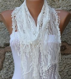 Creamy White  Shawl Scarf  Headband Necklace Cowl by fatwoman, $17.00