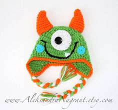 MONSTER BABY HAT - green - acrylic - photo prop - Made To Order