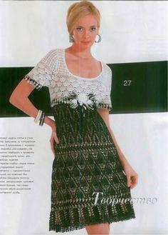 Платье крючком с ажурным верхом, Коктейльное платье крючком схемы |