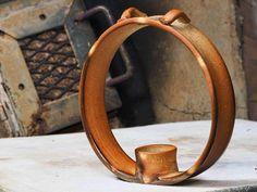 Hanging ceramic candle ring by Lori Buff