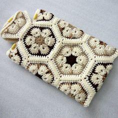 Crochet Hot Water Bottle Cozy, African Flower Hot Water Bottle Cover | StampsPlusMore - Accessories on ArtFire