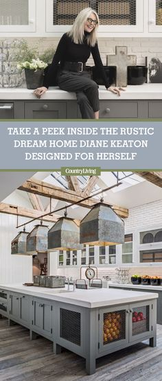 For the past few decades, Academy Award-winning actress Diane Keaton has spent much of her free time off set on a series of construction sites flipping houses. Yes, the Hollywood star loves to get her hands dirty and transform crumbly structures into dreamy homes. Click to see inside her home that Pinterest inspired. #countryhomes #housetours #homedesign #interiordesign