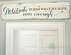 Gratitude Wood Sign customizable - Aimee Weaver Designs (www.) customized to say God bless this home and all who enter in brown tones with white background. Pallet Crafts, Pallet Art, Pallet Signs, Wood Crafts, Diy Crafts, Pallet Painting, Wood Artwork, Diy Décoration, Vinyl Projects