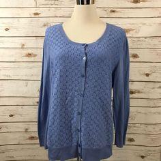 Talbots L Lightweight Cardigan Lace Front Cotton Stretch PERIWINKLE Sz LARGE EUC  | eBay