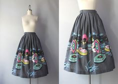 1950s Novelty Print Skirt / 50s Full Cotton Skirt / by HolliePoint