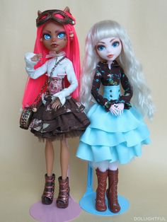 Charlotte Copperchain, Steampunk Lolita custom doll, and Mini-Katherine [Dollightful] in Steampunk dress, by Dollightful