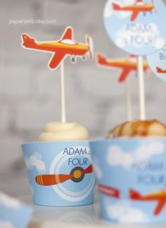 Airplane Birthday Party Cupcake Wrappers | Paper &  Cake