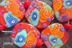 jasmin french ' venus ' lampwork beads set glass art