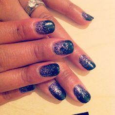 Gel Manicure #OPI Black Onyx & Purple Glitter with #IBD Builder Gel. Nail Art.
