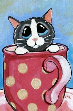 Lisa Marie Robinson, coffee cup with cat inside. Great ATC or painting idea. Art Fantaisiste, Cat Drawing, Whimsical Art, Animal Paintings, Crazy Cats, Rock Art, Cat Art, Cats And Kittens, Art Projects