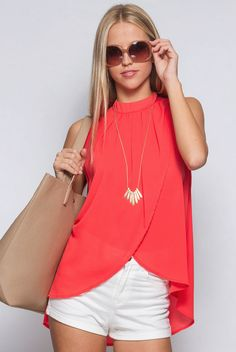 b14394c6e4bc Lovely chiffon sleeveless high neck top with overlapping