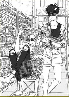 Ash and Eiji, literal fashion i c o n s Manga Anime, Manga Art, Anime Guys, Anime Art, Otaku, Kill La Kill, Manga Covers, Manga Pages, Fish Art