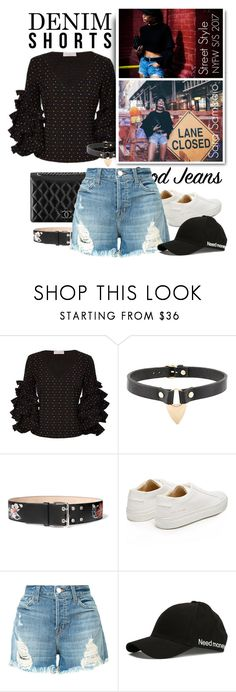 """Summer Staple: Denim Cutoffs"" by emavera ❤ liked on Polyvore featuring Caroline Constas, Chanel, Absidem, Alexander McQueen, Common Projects and J Brand"