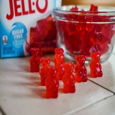 Jello gummy bears are an extremely easy snack to make that's low cal, low carb and keto! These are a hit at parties! How To Make Gummies, Snacks To Make, Easy Snacks, Healthy Snacks, Healthy Recipes, Jello Gummy Bears, Gummy Molds, Homemade Gummy Bears, Chewy Candy