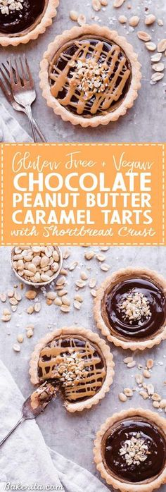 Chocolate Peanut Butter Caramel Tarts have a crunchy shortbread crust that's filled with a creamy peanut butter date caramel and topped with creamy chocolate ganache! This decadent tart recipe is gluten-free, grain-free and vegan. Gluten Free Desserts, Vegan Desserts, Fun Desserts, Gluten Free Recipes, Delicious Desserts, Vegan Recipes, Gluten Free Tart Recipe, Paleo Sweets, Flour Recipes
